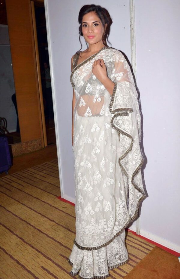 Magnificent Lovely White Colored Georgette Heavy Chine Stitched Work designer fancy saree online