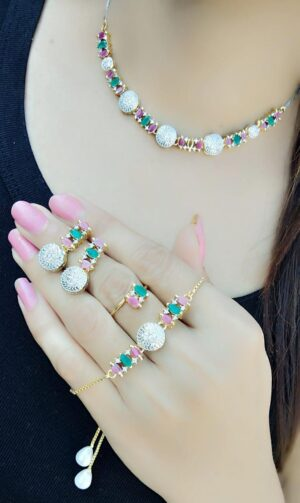 Glorious Pink & Green Diamond Colored jewellery necklace set online
