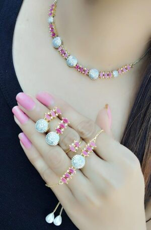 Captivating Pink Diamond Colored jewellery necklace set online