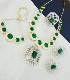 Alluring Green Diamond Colored jewellery necklace set online