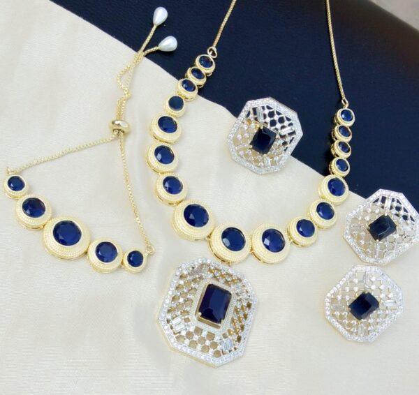 Gorgeous Blue Diamond Colored jewellery necklace set online