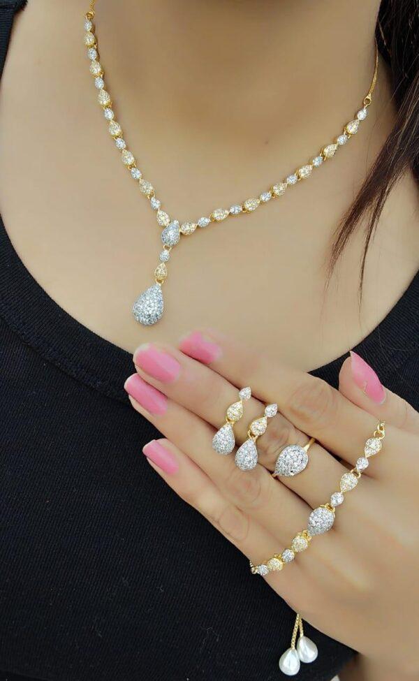 Amazeballs Plain Diamond Colored jewellery necklace set online