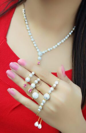 Beauteous Pink Diamond Colored jewellery necklace set online
