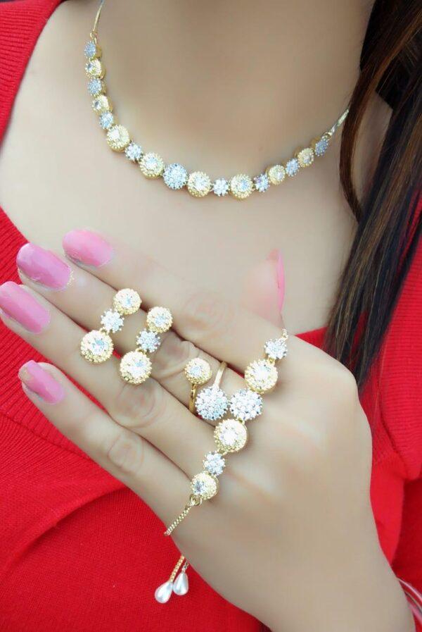 Remarkable Plain Diamond Colored jewellery necklace set online