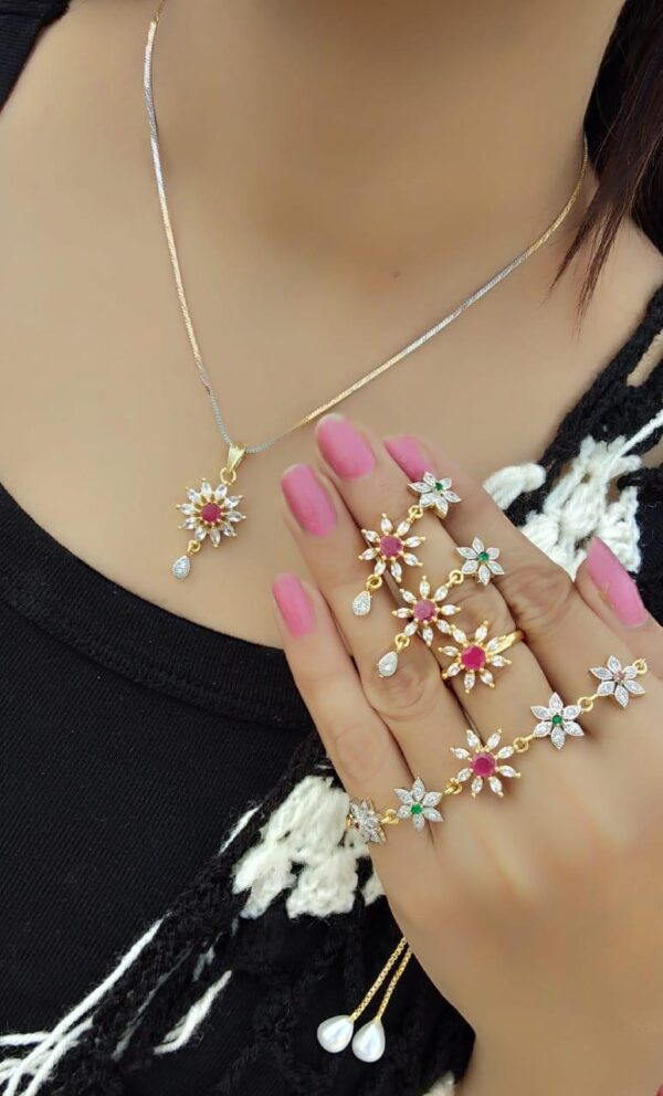 Staggering Pink Diamond Colored jewellery necklace set online