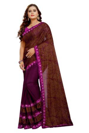 Incredible Wine & Brown Laykara designer fancy saree online