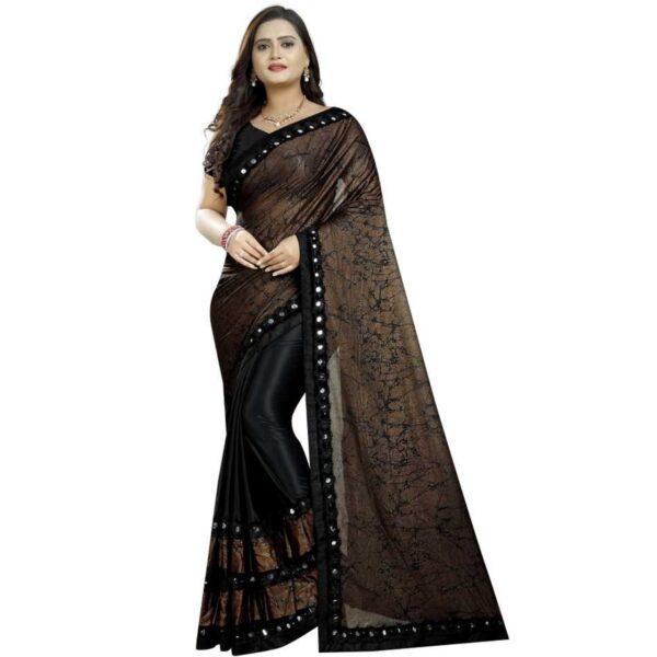 Outstanding Black Colored Laykara designer fancy saree online