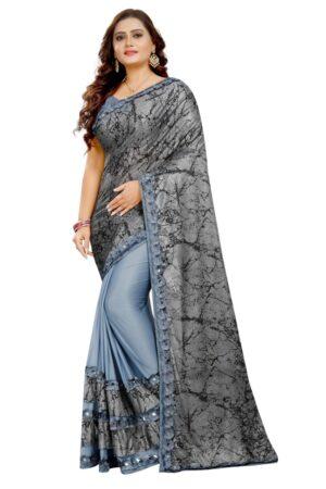 Amazing Grey Colored Laykara designer fancy saree online
