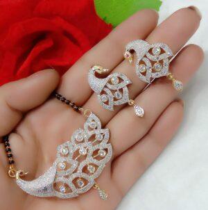 Phenomenal Plain Diamond Colored latest mangalstutra design set