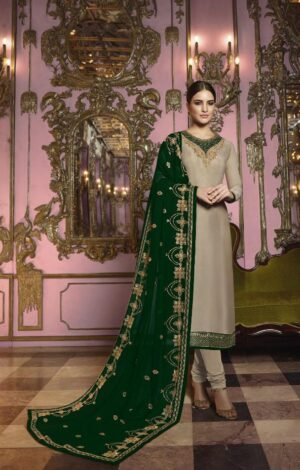 Attractive Green Heavy Rangoli Silk With Embroidered Stich Work Salwar Suit
