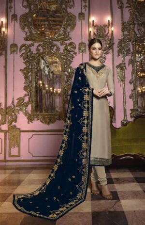 Lovely Navy Blue Heavy Rangoli Silk With Embroidered Stich Work Salwar Suit