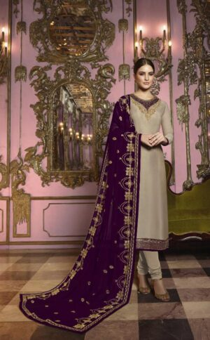 Good-Looking Wine Heavy Rangoli Silk With Embroidered Stich Work Salwar Suit