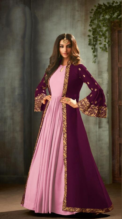 Comely Wine Georgette Satin Embroidered Sequence Stich Work Salwar Suit