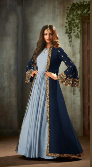 Radiant Navy Blue Georgette Satin Embroidered Sequence Stich Work Salwar Suit