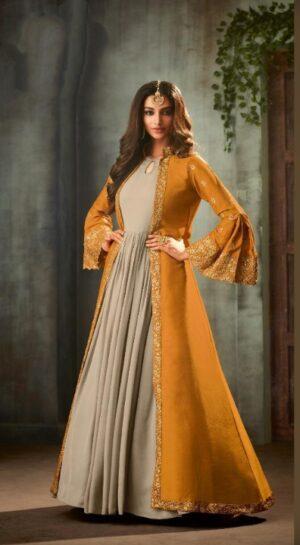 Ravishing Mustard Georgette Satin Embroidered Sequence Stich Work Salwar Suit