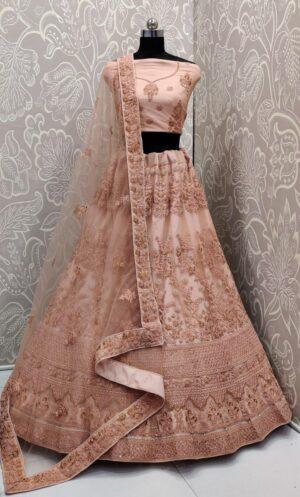 Wonderful Peach Net Multi Embroidered Diamond Work Lehenga Choli