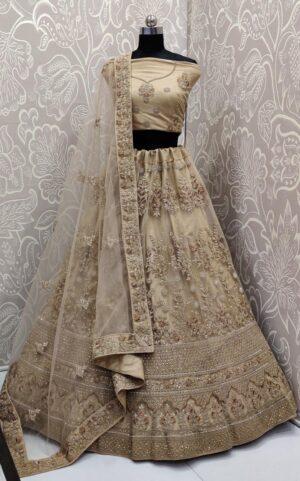 Magnificent Cream Net Multi Embroidered Diamond Work Lehenga Choli
