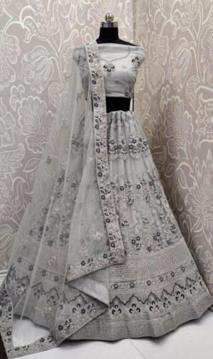 Glorious Grey Colored Net Multi Embroidered Diamond Work Lehenga Choli
