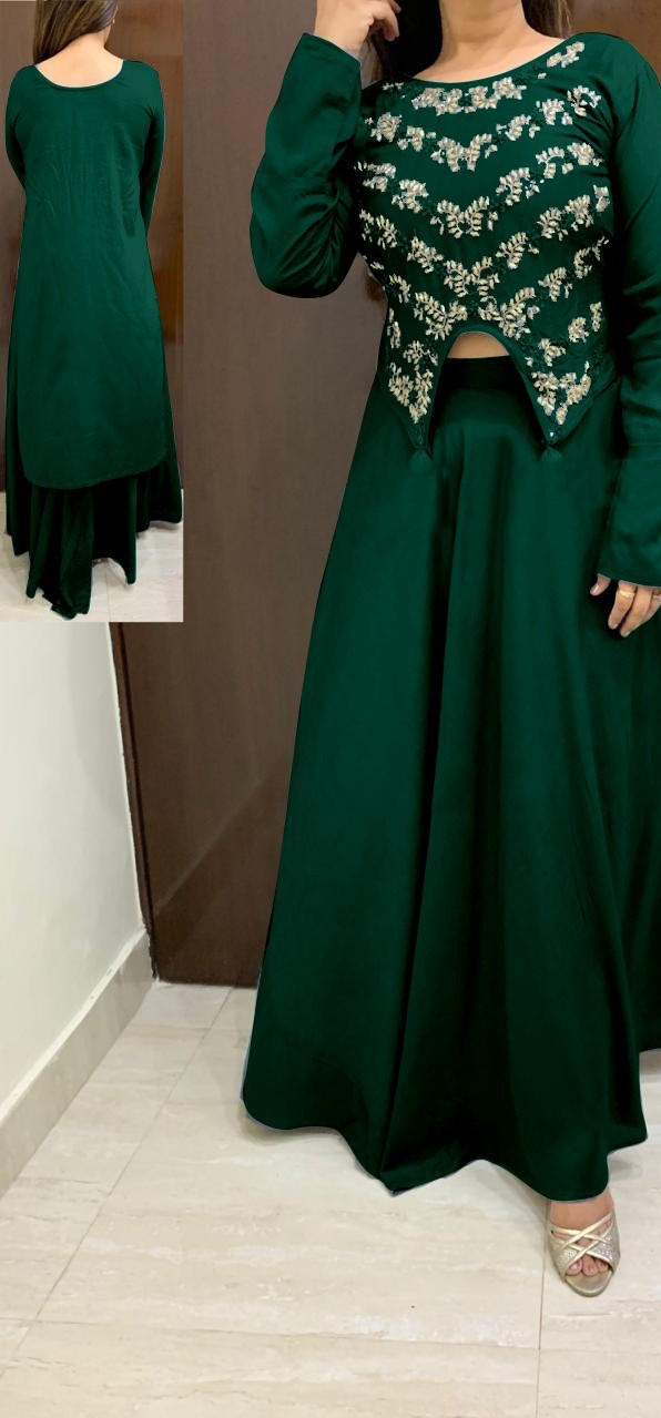 Charming Green Rayon With Hand Work High Low Crop Top With Skirt