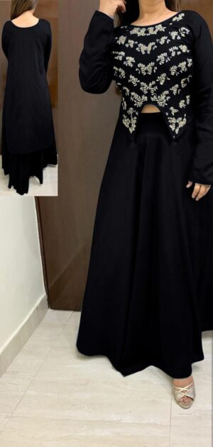 Alluring Black Rayon With Hand Work High Low Crop Top With Skirt