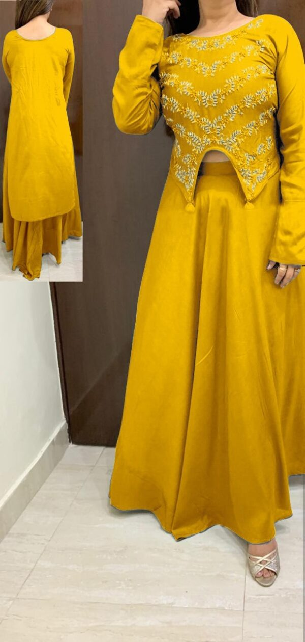 Exquisite Yellow Rayon With Hand Work HighLow Crop Top With Skirt