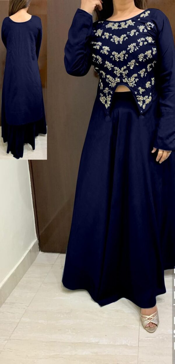 Gorgeous Royal Blue Rayon With Hand Work HighLow Crop Top With Skirt