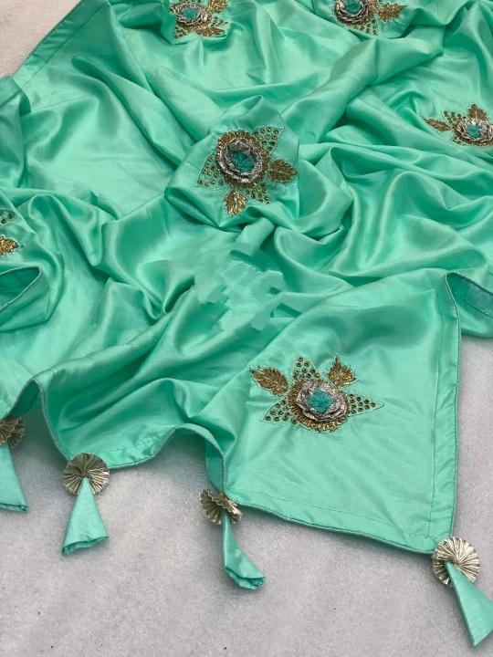 Knockout Blue Vichitra Silk Hand Embroidered Gotapatti Zari Dori Pallu designer fancy saree online