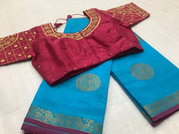Remarkable Maroon & Sky Blue Tasser Silk Zari Weaving Designer Butta designer fancy saree online