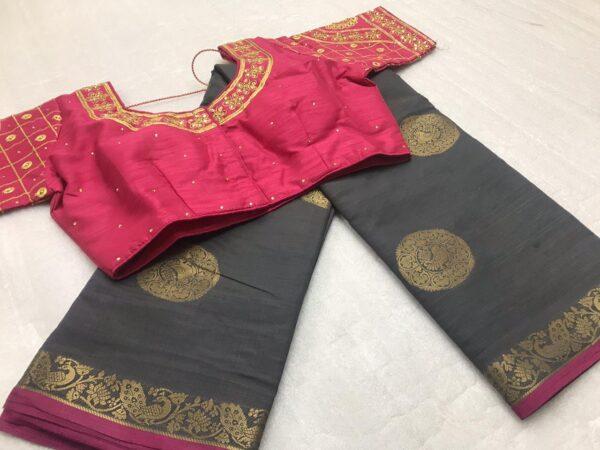 Staggering Grey & Pink Tasser Silk Zari Weaving Designer Butta designer fancy saree online
