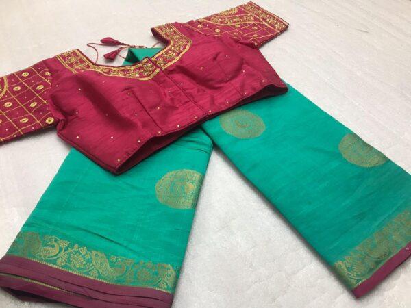 Impressive Rama & Maroon Tasser Silk Zari Weaving Designer Butta designer fancy saree online