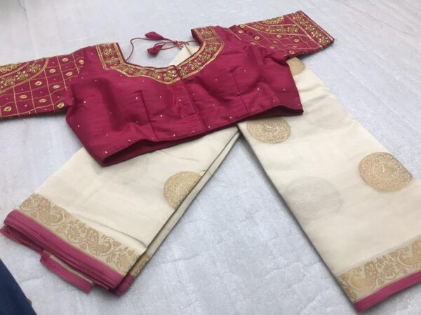 Outstanding Cream & Maroon Tasser Silk Zari Weaving Designer Butta designer fancy saree online