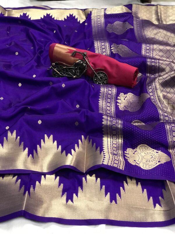 Phenomenal Pink & Purple Gold And Silver Zari Lichi Silk With Rich Pallu designer fancy saree online