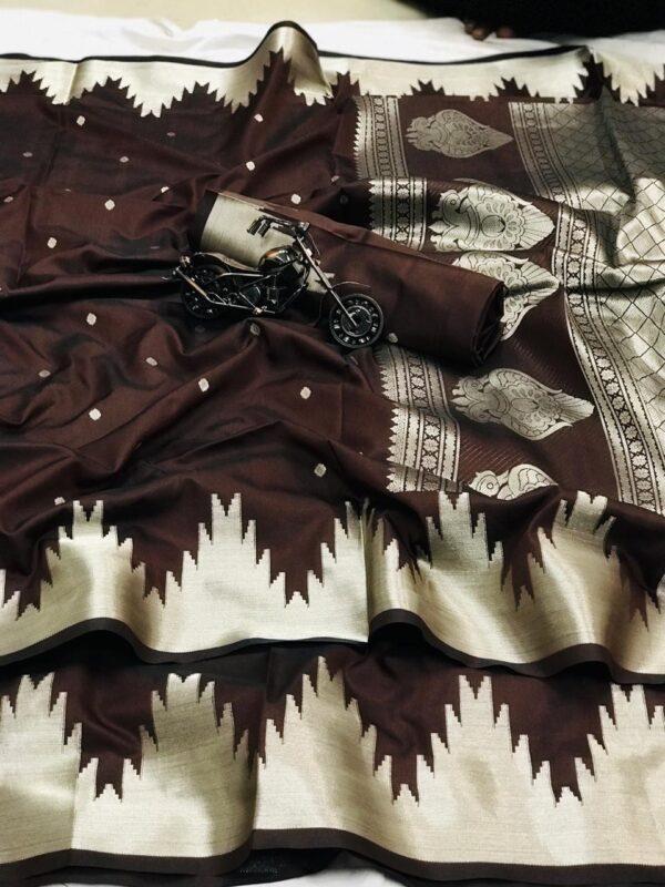 Splendid Chocolate Colored Gold & Silver Zari Lichi Silk With Rich Pallu designer fancy saree online