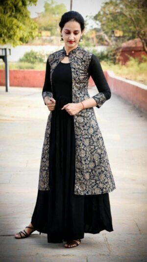 Mind-Blowing Black Colored Rayon With Gold Print Neck Button Party Wear Gown