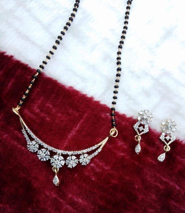 Ravishing Plain Diamond Colored Latest Managalsutra design Set