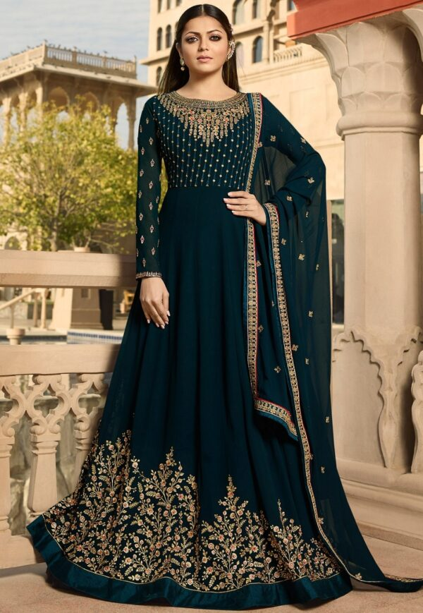 Striking Rama Blue Colored Georgette Embroidered party wear Salwar Suit