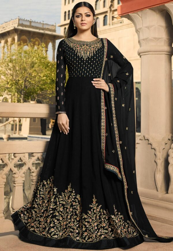 Dazzling Black Colored Georgette Embroidered party wear Salwar Suit