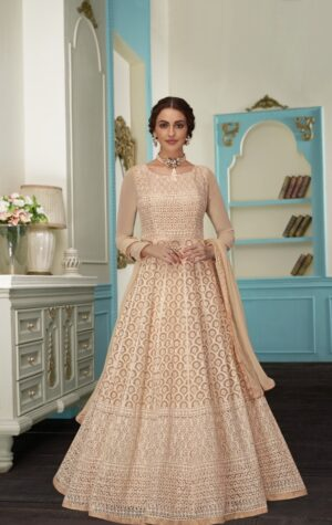 Glorious Cream Colored Georgette Embroidered Anarkali suits online