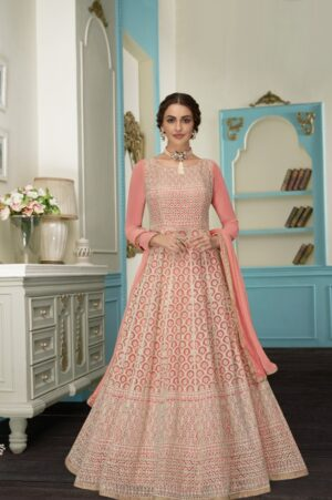 Captivating Pink Colored Georgette Embroidered Anarkali suits online