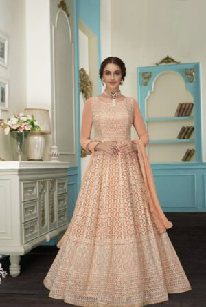 Bewitching Peach Colored Georgette Embroidered Anarkali suits online