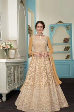 Charming Yellow Colored Georgette Embroidered Anarkali suits online