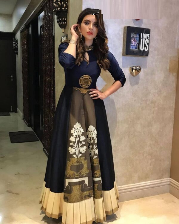 Exquisite Navy Blue Colored Silk Embroidered Print long frock gown dress for girls