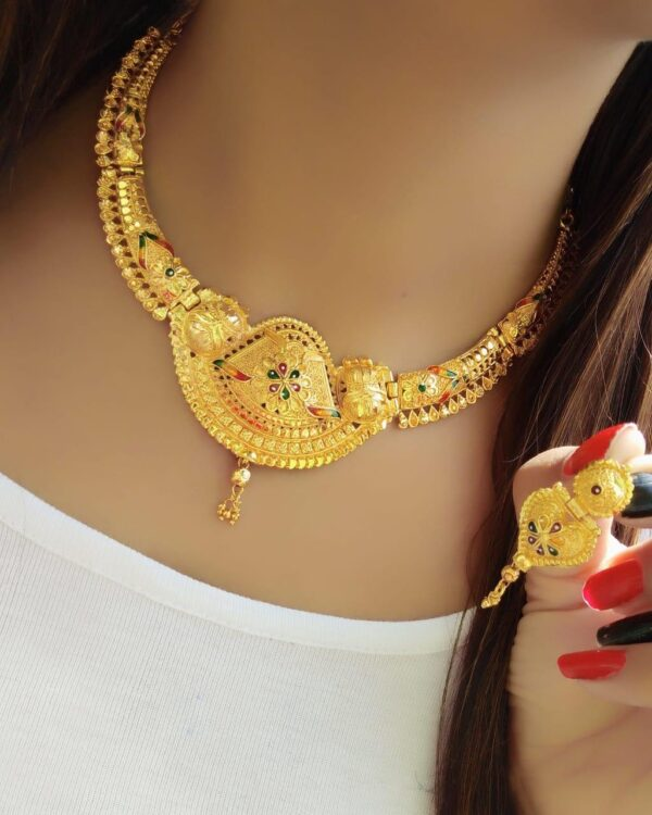 Knockout Imitation Gold Plated Traditional latest necklace design jewelry Set