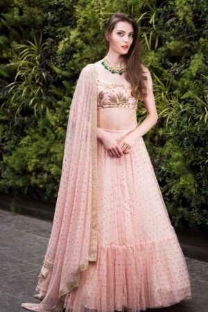Staggering Peach Colored Net Embroidered Work Wedding Wear Lehenga Choli designs online