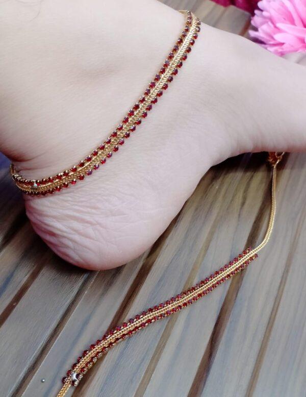 Impressive Red Diamond Stone Colored Imitation Anklets