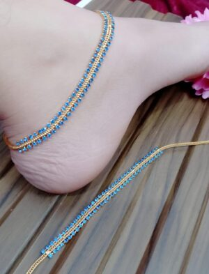 Outstanding Gold Plated Blue Stone Diamond Colored Anklet