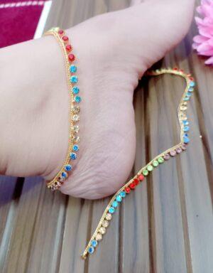 Splendid Multi Colored Stone Diamond Anklet