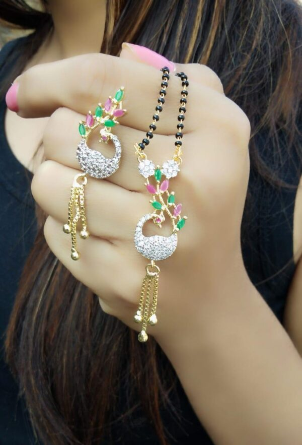 Tremendous Green & Pink Diamond Colored Imitation Latest Managalsutra design Set