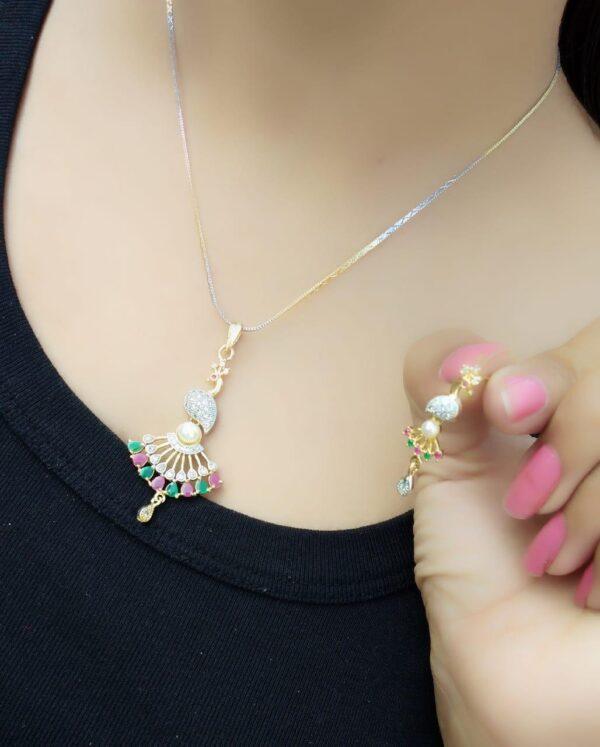 Beautiful Pink & Green Diamond Gold Plated Necklace Set