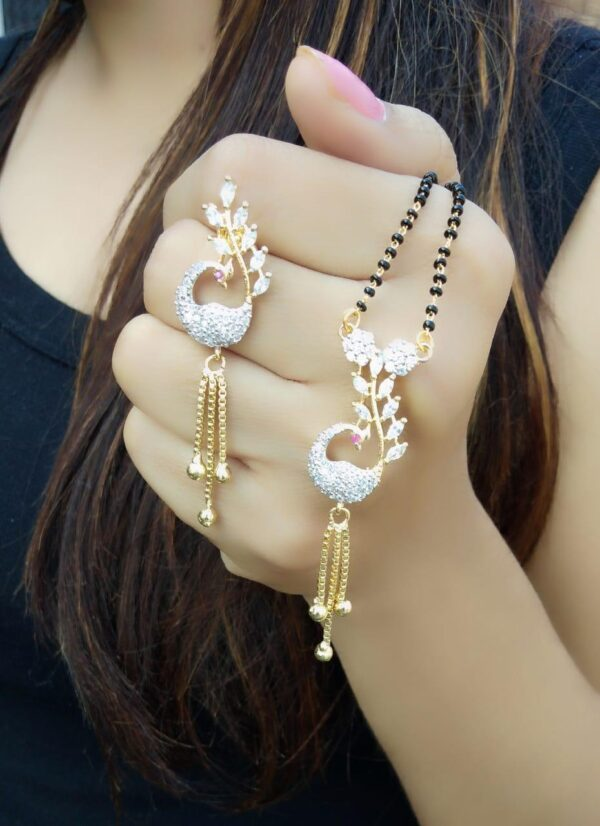 Attractive Pink & White Diamond Gold Plated Latest Managalsutra design Set